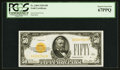Small Size:Gold Certificates, Fr. 2404 $50 1928 Gold Certificate. PCGS Superb Gem New 67PPQ.. ...