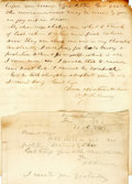 Autographs:Military Figures, [Battle of Fredericksburg]. Union Colonel Oliver H. Palmer Autograph Letter and Note Signed....