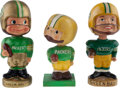 Football Collectibles:Others, 1960's Green Bay Packers Nodders Lot of 3 - (Wood Base, Realistic Face, Type 1 Toes Up)....