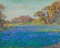 JULIAN ONDERDONK (American, 1882-1922) Bluebonnets North of San Antonio, Late Afternoon, circa 1919-21<