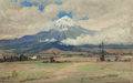 Texas:Early Texas Art - Regionalists, ROBERT JENKINS ONDERDONK (American, 1853-1917). Valley View ofPopocatépetl (double-sided work). Oil on board. 7 x 11 in...