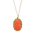 Estate Jewelry:Pendants and Lockets, Coral, Gold Pendant-Necklace. ...