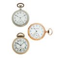 Timepieces:Pocket (post 1900), Three Elgin's Open Face Pocket Watches Runners. ... (Total: 3Items)