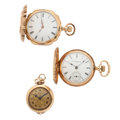 Timepieces:Pocket (post 1900), Three 14k Gold Lady's Pocket Watches Runners . ... (Total: 3 Items)