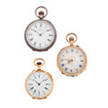 Timepieces:Pocket (post 1900), Waltham Silver & Swiss 14k & 18k Pocket Watches. ...(Total: 3 Items)