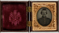 "Civil War Soldier's 1/16th Plate Tintype. Measuring 1"" x 1.25"" (sight), this man is seen from the chest up in..."