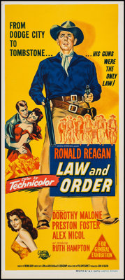 "Law and Order (Universal International, 1953). Australian Daybill (13"" X 29.75""). Western"