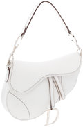 Luxury Accessories:Accessories, Christian Dior White Mini Saddle Bag with Silver Hardware. ...