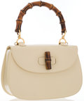 Luxury Accessories:Accessories, Gucci Beige Leather Classic Bamboo Top Handle Bag. ...