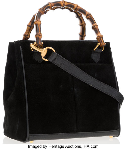 f21c32936 ... Luxury Accessories:Bags, Gucci Black Suede, Leather & Bamboo Small Tote  Bag ...