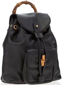 Gucci Black Backpack with Bamboo Handle