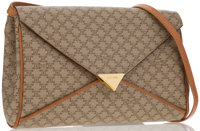 "Celine Beige Monogram Coated Canvas Shoulder Bag Very Good Condition 10.5"" Width x 6.5"" Height x"