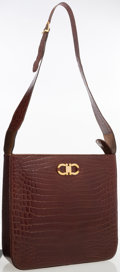 Luxury Accessories:Accessories, Salvatore Ferragamo Brown Crocodile Shoulder Bag. ...