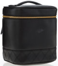 """Luxury Accessories:Accessories, Chanel Black Lambskin Leather Cosmetic Bag with Gold Hardware.Very Good Condition . 6"""" Width x 6.5"""" Height x 4""""Depth..."""