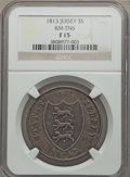 Jersey: British Dependency 3 Shilling Token 1813 F15 NGC