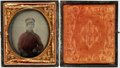"Miscellaneous:Ephemera, Civil War Soldier's 1/6th Plate Ruby Ambrotype. This young man isseen in an oval portrait, measuring 2"" x 2.5"" (sight), fro..."