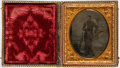 """Miscellaneous:Ephemera, Union Soldier's 1/6th Plate Tintype. This full length, oval studioportrait measures 2"""" x 2.5"""" (sight) and features a soldie..."""