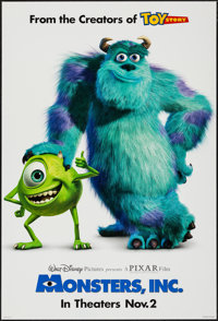 """Monsters, Inc. (Buena Vista, 2001). One Sheet (27"""" X 40"""") DS. Animation"""