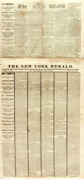 Miscellaneous:Newspaper, [Lincoln Assassination]. Group of Two Newspapers with Details ofthe Murder of President Lincoln and the Aftermath inclu...