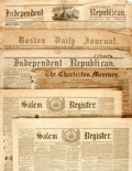 "Miscellaneous:Newspaper, [Civil War]. Newspaper: Group of Six Newspapers including: SalemRegister. Four pages, 19"" x 24.75"", August 19, 1861..."