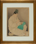 "Books:Prints & Leaves, Paul Jacoulet, artist (1896-1960). SIGNED. Framed Limited EditionWoodcut Print Entitled, ""Le Maitre Potier"". [N.d., circa..."
