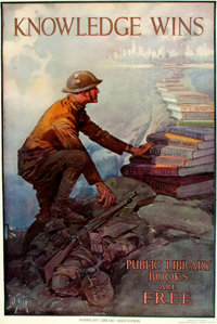 """[World War I]. Dan Smith. Original Lithographic WWI Poster, """"Knowledge Wins."""" Issued by the American Library A..."""