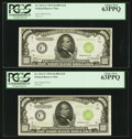 Small Size:Federal Reserve Notes, Fr. 2211-C $1,000 1934 Light Green Seal Federal Reserve Notes. Two Consecutive Examples. PCGS Choice New 63PPQ.. ... (Total: 2 notes)