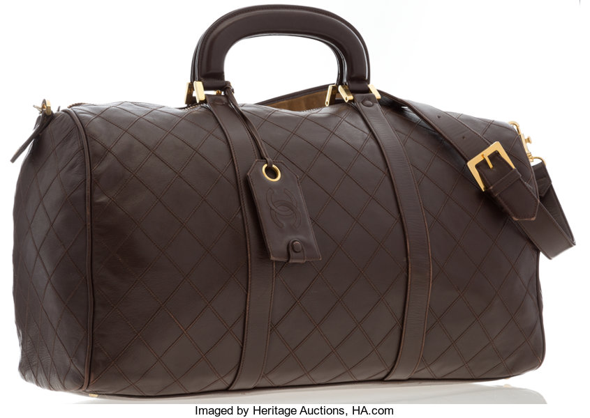 c67f22cf60e6 Luxury Accessories:Travel/Trunks, Chanel Burgundy Quilted Lambskin Leather  Boston Travel Bag .