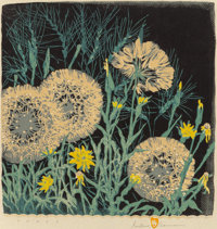 GUSTAVE BAUMANN (German/American, 1881-1971) Tares, 1952 Woodblock in colors 12-3/4 x 12-1/2 inch