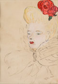 Movie/TV Memorabilia:Original Art, A Katharine Hepburn Signed Watercolor, Circa 1940s....