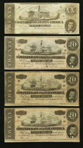 Confederate Notes:1862 Issues, T51 $20 1862.. T67 $20 1864. Three Examples.. ... (Total: 4 notes)