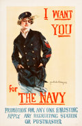 "Movie Posters:War, World War I ""Christy Girl"" Recruiting Poster (U.S. Navy, 1917).Howard Chandler Christy Poster (27"" X 41""). ""I Want You for ..."