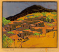 Fine Art - Work on Paper:Print, GUSTAVE BAUMANN (German/American, 1881-1971). Talaya Peak,circa 1926. Woodcut in colors on paper laid on board. 11-1/4 ...