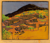 GUSTAVE BAUMANN (German/American, 1881-1971) Talaya Peak, circa 1926 Woodcut in colors on paper laid