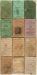 Books:Periodicals, [Almanacs.] Group of Twelve Issues of Walton's VermontRegister for Years 1862, 1872-1874, 1876-1878, 1881, 1886-1...(Total: 12 Items)