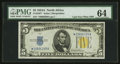 Small Size:World War II Emergency Notes, Fr. 2307* $5 1934A North Africa Late Face Plate 307 Silver Certificate. PMG Choice Uncirculated 64.. ...