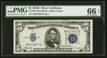 Small Size:Silver Certificates, Fr. 1652 $5 1934B Silver Certificate. PMG Gem Uncirculated 66 EPQ.. ...