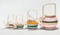 PETER SHIRE (American, b. 1947) Four Early Teapots, 1979 glazed ceramic 14 x 17 x 10 inches (35.6