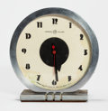 Post-War & Contemporary:Contemporary, GILBERT ROHDE (American, 1894-1944). Clock, 1933, HermanMiller. Chrome plated clock. 6-1/4 x 2-3/4 inches (15.9 x 7.0 c...