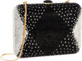 Luxury Accessories:Bags, Judith Leiber Full Bead Black & Silver Crystal RectangleMinaudiere Evening Bag . Very Good to Excellent Condition .6...