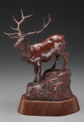 Bronze:American, BOB SCRIVER (1914-1999). Season of the Elk, 1976. Bronzewith brown patina. 11 inches (27.94 cm) high on a 2 inches (5.0...