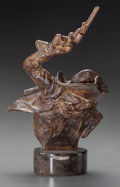 Bronze:American, HARRY JACKSON (American, 1924-2011). Pony Express Bust,circa 1972. Bronze with brown patina. 10 inches (25.4 cm) high o...