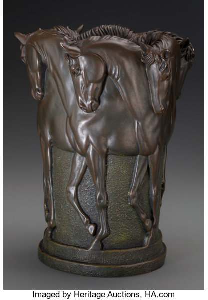 An American Cast Resin Horse Vase Circa 1990 11 12 Inches High