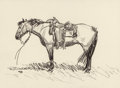 Fine Art - Painting, American:Contemporary   (1950 to present)  , ROBERT E. LOUGHEED (American, 1910-1982). Lone Horse.Charcoal on paper. 10 x 13-1/2 inches (25.4 x 34.3 cm) (sight).Si...