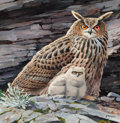 Fine Art - Painting, American:Contemporary   (1950 to present)  , ARTHUR B. SINGER (American, 1917-1990). Pair of Owls.Gouache on board. 16 x 16 inches (40.6 x 40.6 cm) (sight). Signed...