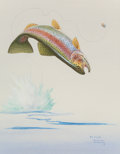 Works on Paper, HERB CHIDLEY (American, 1901-1998). Leaping Trout. Watercolor on paper. 15 x 11-3/4 inches (38.1 x 29.8 cm) (sight). Sig...