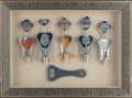 Miscellaneous, SIX AMERICAN AND ITALIAN ALUMINUM FIGURAL WINE KEYS AND BOTTLEOPENER IN SHADOW BOX FRAME, circa 1959. 23 x 31 x 4 inches (5...