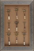 Miscellaneous, NINE AMERICAN BRASS BULL'S HEAD WINE KEYS IN SHADOW BOX FRAME, 20thcentury. 28-1/2 x 19 x 3-3/4 inches (72.4 x 48.3 x 9.5 c...