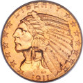 Indian Half Eagles, 1911-D $5 MS64 PCGS. CAC....