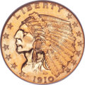 Proof Indian Quarter Eagles, 1910 $2 1/2 PR66 PCGS. CAC....